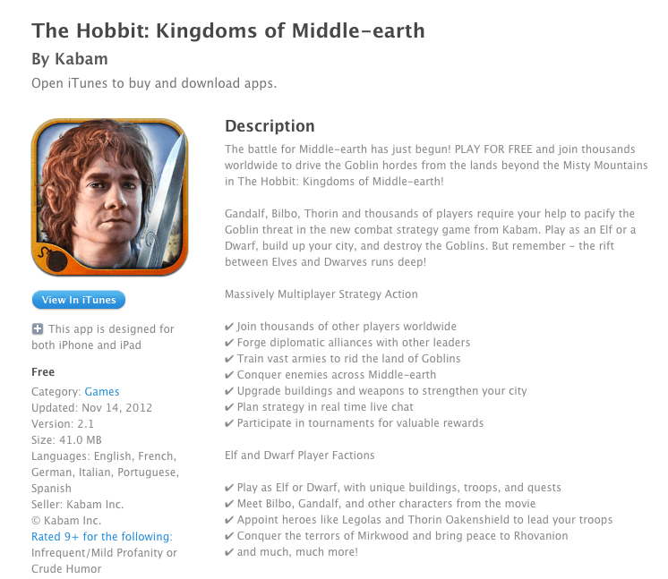 iOS Review: The Hobbit- Kingdoms of Middle Earth