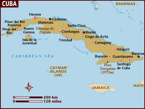 Map of Cuba and Surrounding Areas