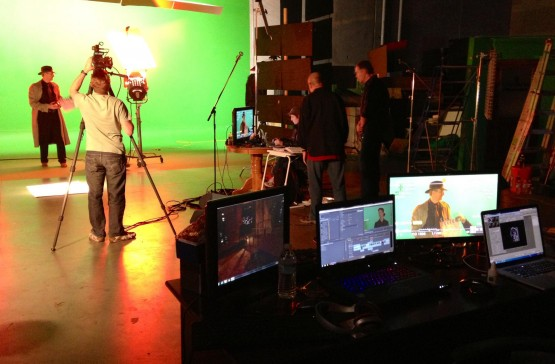 A behind-the-scenes look at the filming of one of the game's FMV sequences. Picture courtesy of Mat Van Rhoon and Big Finish Games.