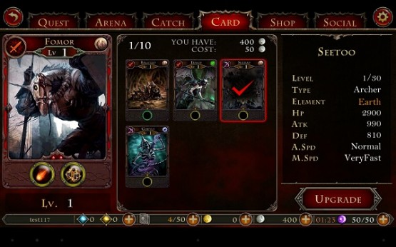 Hell Invaders card management in action