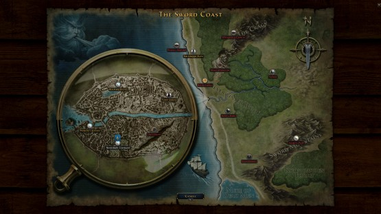 The current map for Neverwinter explores the Sword Coast.