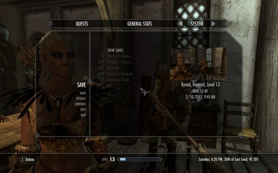 Skyrim save menu