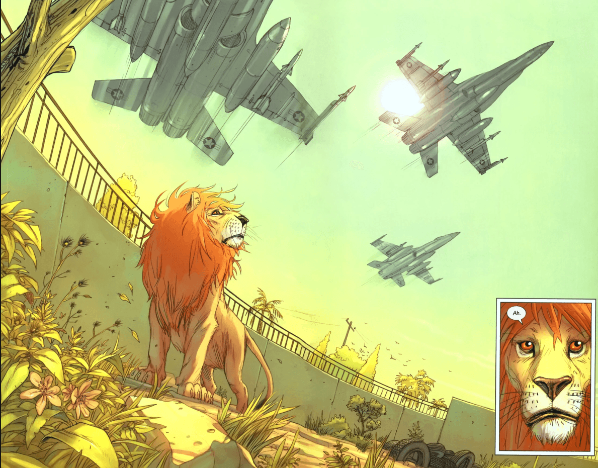 the effects of war in iraq in pride of baghdad a graphic novel by brian k vaughan Editorial reviews review deeply moving--los angeles times book  review, starred☆  in this provocative graphic novel, superstar comics writer  brian k vaughan examines life on the streets of war-torn iraq in the spring of  2003, a pride of lions escaped from the baghdad zoo during an american  bombing raid.