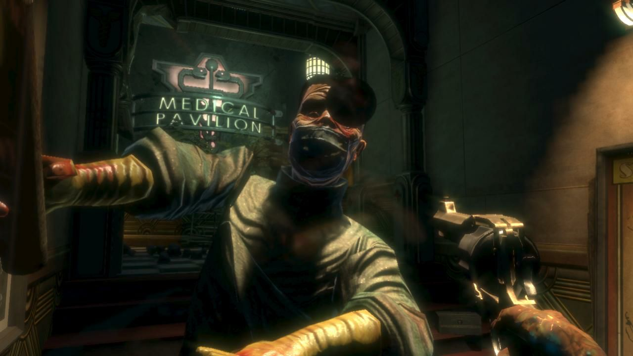 The player fighting a disfigured splicer