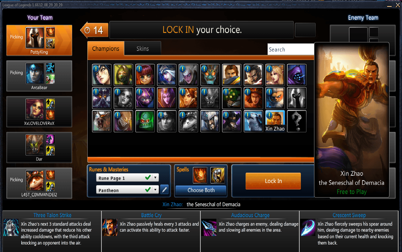 League of Legends Character Select