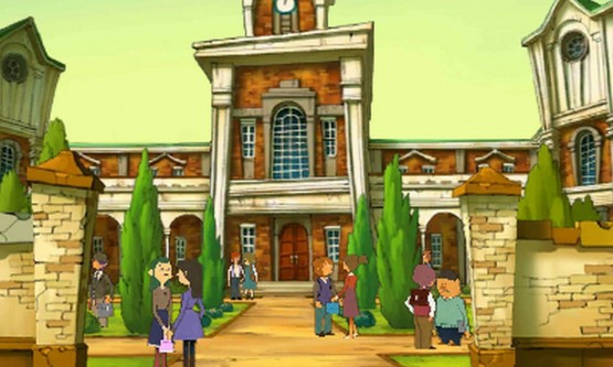 You'll be clicking through many environments, such as a young Layton's school.