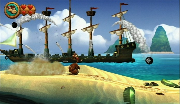 Just a typical day for Donkey and Diddy in Donkey Kong Country Returns.
