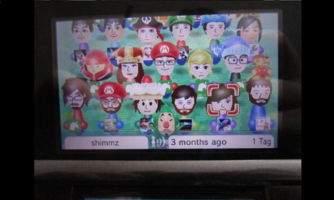 A look at my Mii Plaza - my Mii is the one whose wonderful Tingle hat is the only thing you can see.