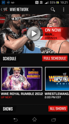 The WWE Network on my Xperia TL