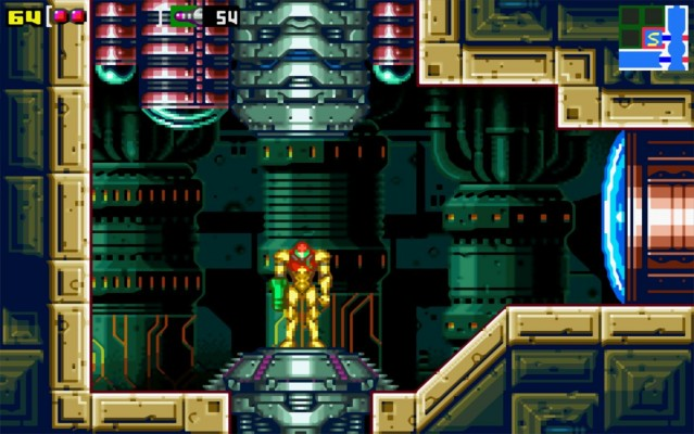 A screenshot from Zero Mission, which ups the graphical detail from the original Metroid severely.