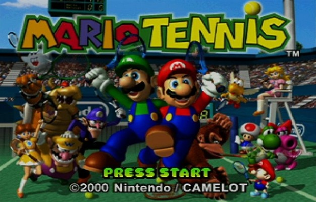 The title screen to Mario Tennis.
