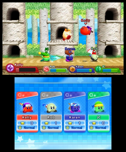Kirby Fighters offers a Smash Bros-esque multiplayer experience.