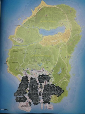 And here is the GTA IV map overlayed on the GTA 5 map. If the Watch Dogs Map is a little large than GTA 4, it still is only a fraction of the size of GTA 5