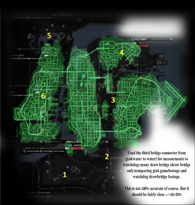 Here is the GTA 4 Map (Green) Placed over the Watch Dogs Map (Black). As you can see the Watch Dogs Map is a little bigger