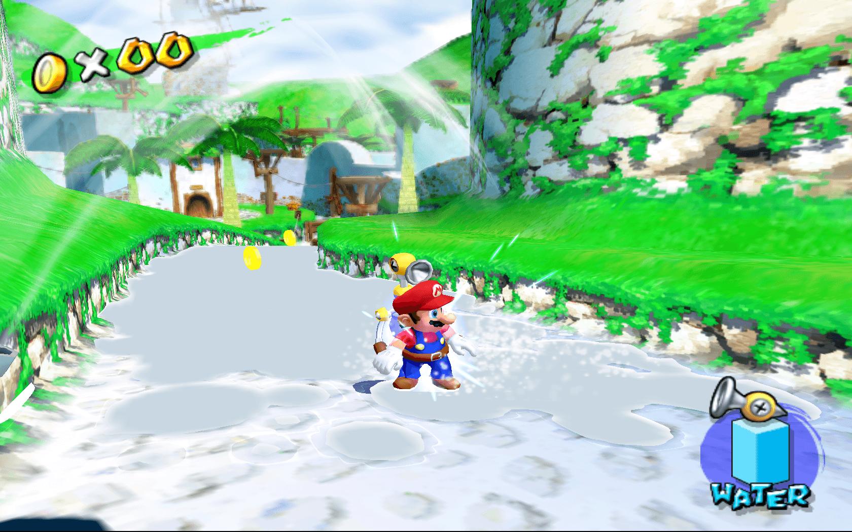 Mario gets wet!