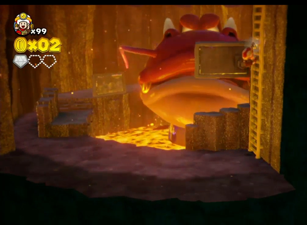 Captain Toad runs from not only rising lava, but a dangerous dragon. He runs from everything. He's good at it.
