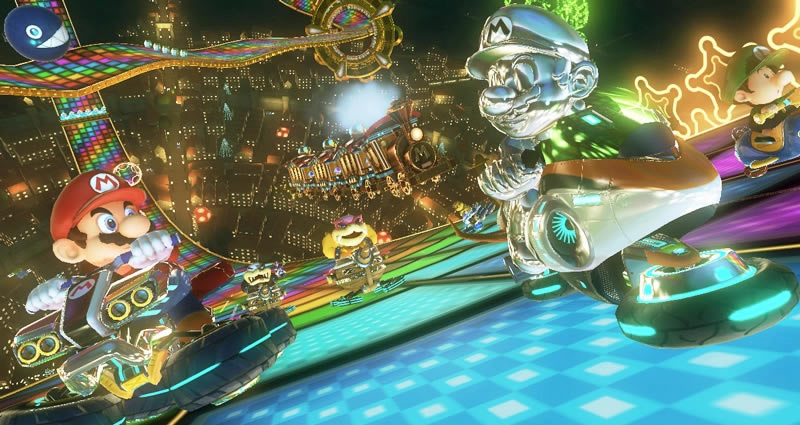 Luckily, classic Rainbow Road also makes a return and man is it gorgeous.