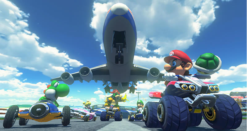 While runways don't typically make good places for kart races, Mario Kart 8 finds a way to make them super fun and twice as dangerous.