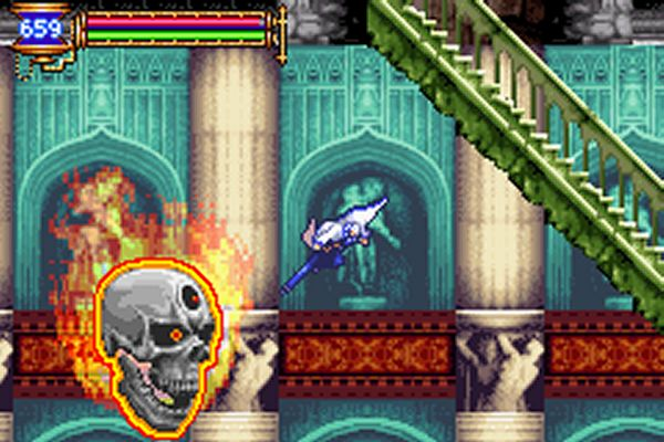 Soma Cruz goes for the dive kick in Aria of Sorrow.